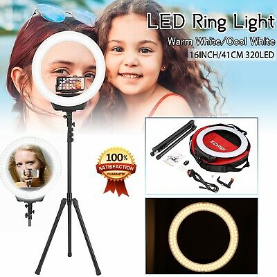 "14"" Studio LED Photo Video Round Dimmable Ring Light Kit + iPhone Holder + Stand"