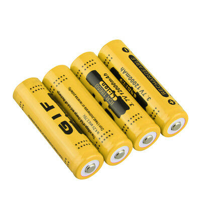 4pcs 3.7V 18650 12000mah Li-ion Rechargeable Battery For LED Flashlight Torch SU