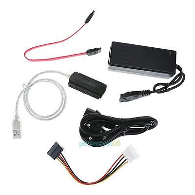 SATA/PATA/IDE Drive to USB 2.0 Converter HDD Data Cable External Power Adapter