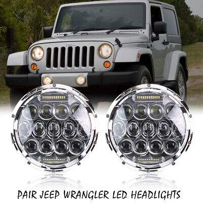 2P 7''inch 75W Chrome H4 H13 Headlights Fits for Jeep Wrangler Driving Headlamp