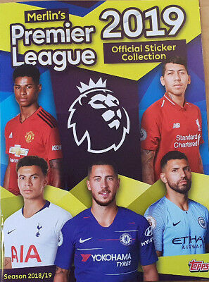 Merlin Topps Premier League 2019 complete set of 310 stickers with empty album