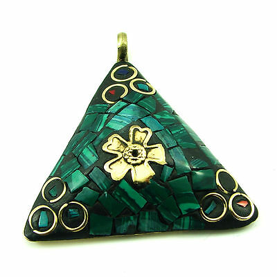 Solid Brass Green Malachite Gemstone Antique Ethnic Vintage Nepali Pendant 290