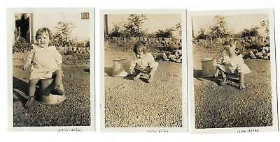 VINTAGE PHOTOS LOT Of 3 * LITTLE GIRL POSING BY SITTING ON OLD TIN PAIL * 1920s