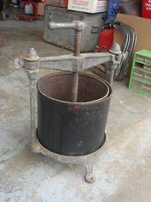 Vintage Antique 10 Qt Fruit Lard Wine Press Classic Primitive Stuffer
