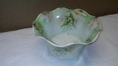 ANTIQUE Silesien EMBOSSED PORCELAIN BOWL/DISH Hand Painted Germany Lilly