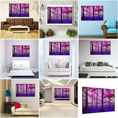 7F9C Modern Art Purple Forest Wood Inkjet Oil Paintings Living Room Wall Decorat