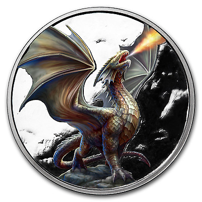 1 oz Silver Colorized Round Anne Stokes Dragons (Noble Dragon) - SKU#176370
