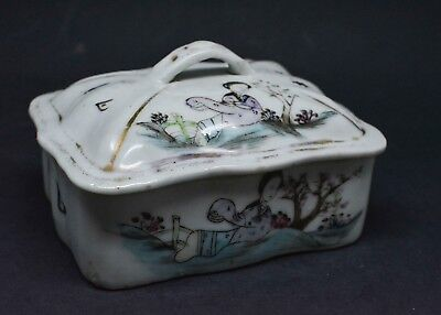Antique Chinese Porcelain Soap Dish ~ Calligraphy ~ 4 x 3 x 2 Inches 🐘