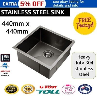 440 x 440mm Stainless Steel Sink Single Bowl Kitchen Laundry Basin Square Edges
