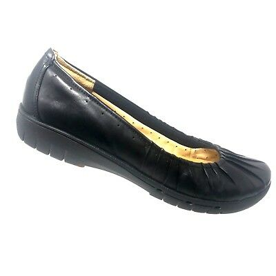 74707e97c Clarks Unstructured Un.Beam Black Leather Ballet Flat Womens Shoe SIZE 10 M