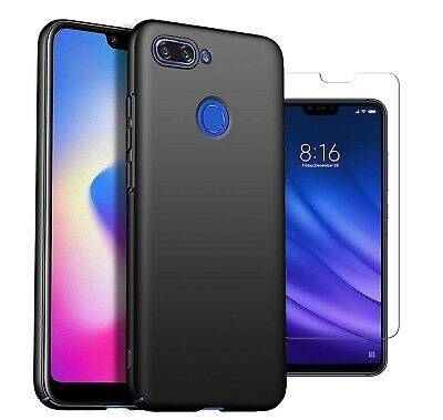 For Xiaomi Mi 8 Lite Case Slim Hard Back Cover & Glass Screen Protector