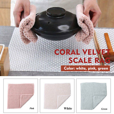 8F1C Dish Towel Housekeeping Rag Kitchen Cleaning Cloth Reusable Coral Fleece
