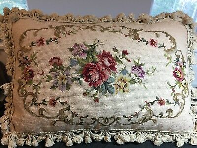 Huge VTG COMPLETED Floral Rose PETIT POINT NEEDLEPOINT TAPESTRY PILLOW Down