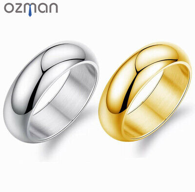 Men Classic Style Wedding Smooth Polished Silver Gold Titanium Steel Ring