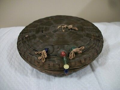 Vintage Woven Wicker Sewing Basket Full of Wooden Spool Threads