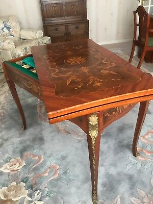 Roulette Bridge Games Card Table Italian Marquetry Inlaid - Excellent Condition
