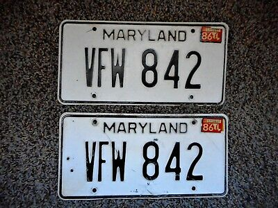 Pair Maryland License Plate Tag Number Vfw 842 Classic Md 1986 War Veterans Yom