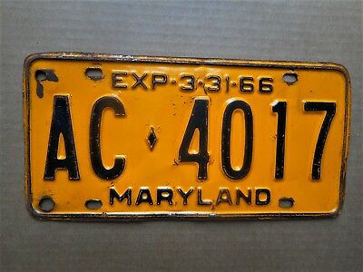 Maryland License Plate Tag Number Ac 4017 Classic Md Vintage 1966