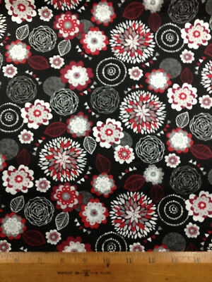 """Floral Medallion Red White Gray on Black 14""""x43"""" Valance Window Cotton  Fabric"""