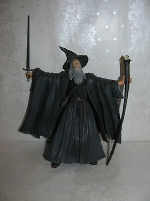 """LOTR Lord of the Rings 2001 GANDALF Grey Figurine Toy 6.5"""" Marvel Ent."""