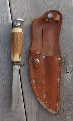 Vintage Solingen Hunting Knife Fixed Blade Stag Handle w Sheath Germany Nr