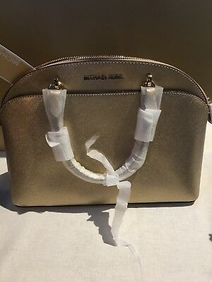 NWT Michael Kors Saffiano Leather Emmy Large Dome Satchel Bag in Pale Gold f43777aac5