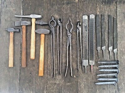 "Blade smith Blacksmith Tools,4-hammers,4 tongs,7/8"" hardy, 6 RR Spikes,6-Files"