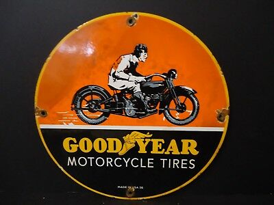 Old 1936 Good Year Motorcycle Tires Porcelain Advertising Sign