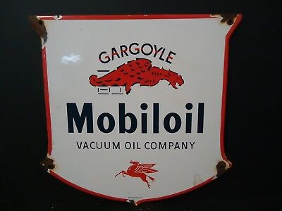 Vintage Old 1938 Mobiloil Gargoyle Porcelain Gas Station Sign