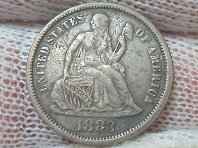 1883 P Seated Liberty silver Dime with free shipping