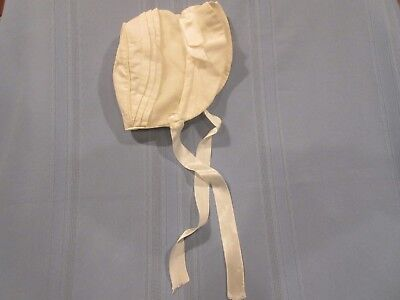 vintage baby/doll bonnet w/ stand up brim white for boy or girl 0-6 ms.