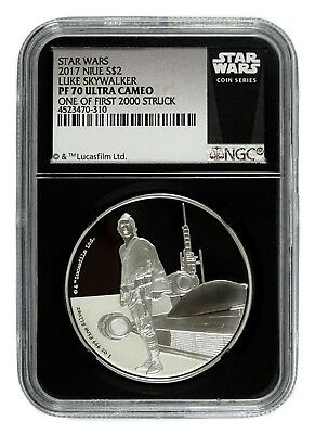 AUC0593 2017 S$2 Star Wars Luke Skywalker Proof Silver Coin NGC PF70 Ultra Cameo