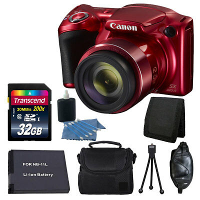 Great Value Canon PowerShot SX420 IS Red, 42x optical Zoom + Accessory Bundle