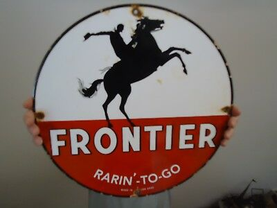 "15"" Vintage 1930 Frontier Gasoline Porcelain Gas Pump Sign Advertising"