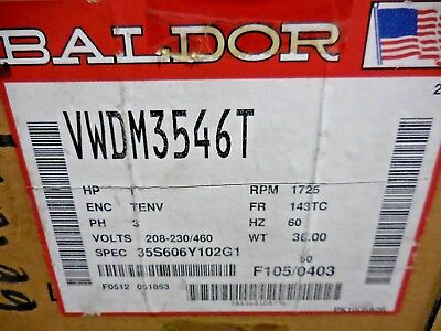 Baldor Electric VWDM3546T Washdown Continuous Duty Motor (1HP, 3-Phase, 1725RPM)