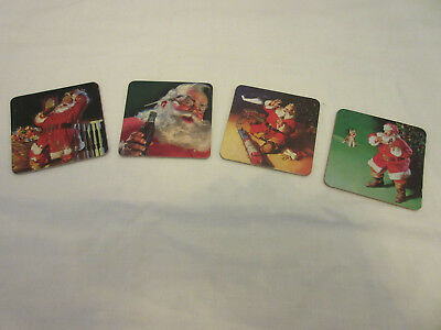 Vintage Coca-Cola Coasters -- 1999 -- Santa Claus -- Set Of 6 -- 4 Different