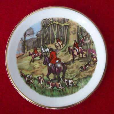 Arklow Pottery Plate Republic of  Ireland  Hunting Scene Dogs Horses Mini 3-1/3""