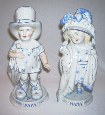 Antique Pair of German Porcelain Blue/White MAMA & PAPA Figurines (#1434)