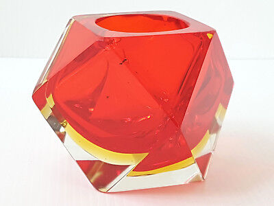 Candleholder Faceted Vintage 1970 Glass Murano Red 70S 70's 70S