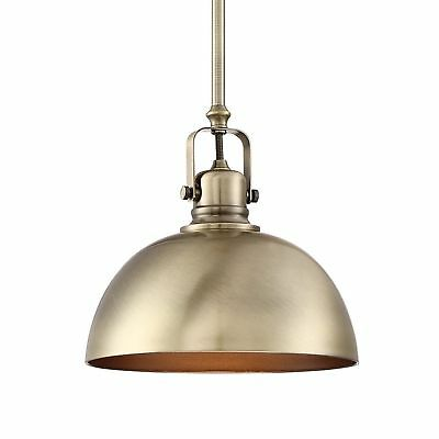 "Revel Belle 9"" Contemporary Adjustable Pendant Light, Antique Brass Finish"