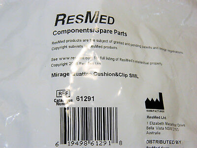 Resmed Part No. 61291 Mirage Quattro Cushion & Clip Size Small - Factory Sealed!