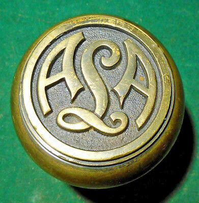 Emblematic  A L A  Door Knob - Cast Brass:  No Blumin Id Very Nice  (11311-23)