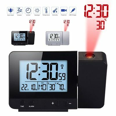 Digital LCD Display LED Wall Projection Alarm Clock Time Temperature Projector