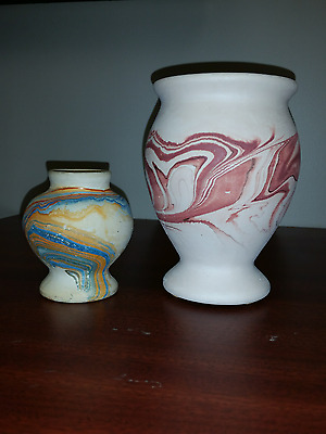 REDUCED $10 TWO Pieces of Beautiful Nemadji Pottery Vases Signed $5 USA Shipping