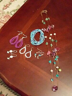 Native American Seed bead Lot of bracelet Earrings & Mother of Pearl Necklace