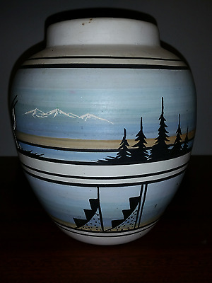 JUST REDUCED XLarge Native American Navajo Jar & Lid Signed & Etched $5 USA Ship