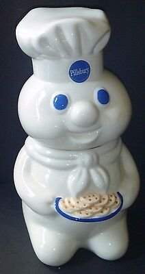 Pillsbury DoughBoy Cookie Jar HOLDING TRAY OF COOKIES white blue