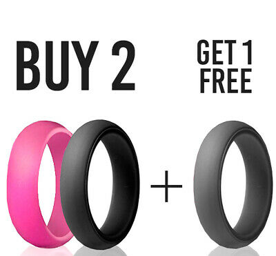 Silicone Ring Women 3 PACK Braid Rubber Flexible Band Stackable Set Wedding FREE