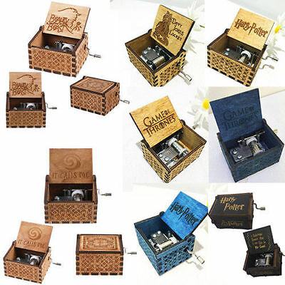 Harry Potter Wood Music Box Game of Thrones Engraved Musics Boxes Xmas Gifts Toy