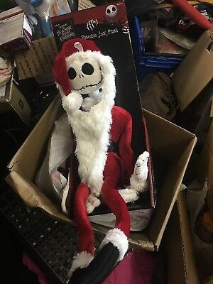 "Nightmare Before Christmas Jack Skellington ""Sandy Claws'' Posable Plush"
